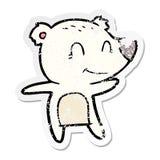 Distressed sticker of a smiling polar bear cartoon. Illustrated distressed sticker of a smiling polar bear cartoon royalty free illustration