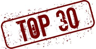 Distressed TOP 30 grunge stamp. Royalty Free Stock Photo