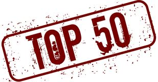 Distressed TOP 50 grunge stamp. Illustration concept image Royalty Free Stock Images