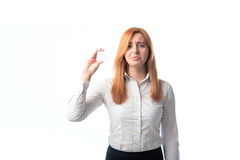 Distressed woman holding a business card Stock Photos
