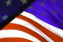 Distressed Worn American Flag. Distressed red, white, and blue flag of the United States of America, USA stock photos