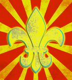 Distressed Yellow Fleur de Lis Circus Royalty Free Stock Photos