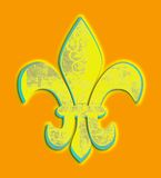 Distressed Yellow Fleur de Lis Tangerine Royalty Free Stock Photos