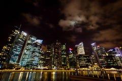 Distretto aziendale alla notte Fotografia Stock