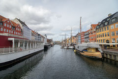 Distretto a Copenhaghen, la capitale di Nyhavn della Danimarca Fotografie Stock Libere da Diritti