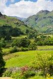 Distretto Cumbria del lago valley di Langdale con le montagne ed il cielo blu Immagini Stock Libere da Diritti