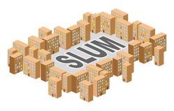Distretto dei bassifondi Costruzione nella forma di lettere Povero del ghetto distric illustrazione vettoriale