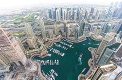 Distretto del porticciolo del Dubai da un tetto Il Dubai, UAE - 28/OCT/2016 Immagini Stock Libere da Diritti