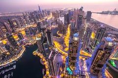 Distretto del porticciolo del Dubai da un tetto Il Dubai, UAE - 28/OCT/2016 Fotografie Stock