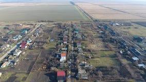 Distretto di Elitnyy Krasnoarmeyskiy del villaggio, Krasnodar Krai, Russia Volando ad un'altitudine di 100 metri La rovina e l'ob Fotografia Stock