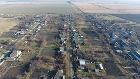 Distretto di Elitnyy Krasnoarmeyskiy del villaggio, Krasnodar Krai, Russia Volando ad un'altitudine di 100 metri La rovina e l'ob Fotografia Stock Libera da Diritti