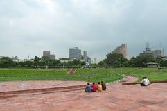Distretto di Nuova Delhi Paharganj, circuito del posto di Connaught, India, la gente del parco Fotografie Stock Libere da Diritti