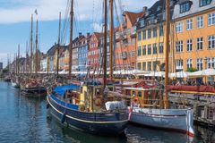 Distretto di Nyhavn a Copenhaghen Immagini Stock Libere da Diritti