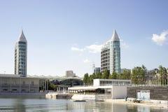 Distretto di Parque da Nacoes con l'acquario a Lisbona, Portogallo fotografia stock libera da diritti
