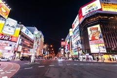 Distretto di Susukino alla notte Immagini Stock Libere da Diritti