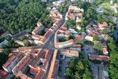 Distretto di Uzupis a Vilnius da sopra Fotografia Stock Libera da Diritti