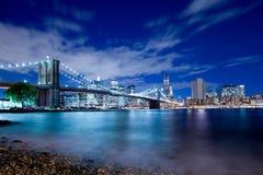 Distretto e ponte di Brooklyn finanziari di New York Fotografia Stock Libera da Diritti