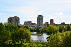 Distretto ecologico in Chimki, Russia di Levoberezhny Fotografia Stock