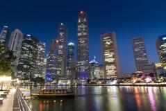Distretto finanziario al fiume di Singapore Fotografia Stock
