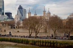 Distretto finanziario di Londra e del ponte della torre Fotografie Stock Libere da Diritti