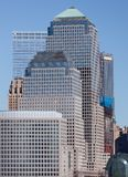 Distretto finanziario di Manhattan al tramonto dalla Jersey Immagini Stock Libere da Diritti