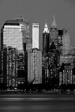 Distretto finanziario di Manhattan al tramonto dalla Jersey Fotografie Stock