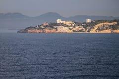 Distretto residenziale abitato in sulla costa di mare Salou, Tarrogona, Spagna Immagine Stock