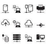 Distribución de datos, recibiendo, servidor, iconos de la red de la nube Fotos de archivo libres de regalías