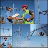 Distribución de la electricidad - collage foto de archivo