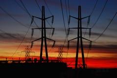 Distribución de potencia en la puesta del sol Fotos de archivo libres de regalías