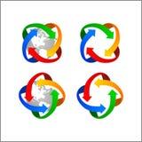 Distribución del mundo de la flecha del globo del logotipo del vector del clip art fotografía de archivo