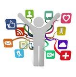Distribución social de los media Imagen de archivo