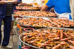 Distribuição do paella gigante terminado fotografia de stock royalty free
