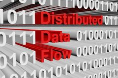 Distributed data flow. In the form of binary code, 3D illustration Stock Images