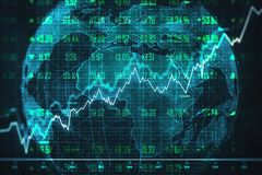 Distributed data and network concept. Creative globe with glowing forex chart. Distributed data and network concept. 3D Rendering stock illustration