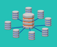 Distributed data storage flat isometric vector 3d Royalty Free Stock Photo