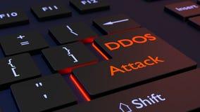 Distributed denial of service black keyboard with DDOS enter key. Black computer keyboard with the words DDOS attack on the enter key distributed denial of Stock Image