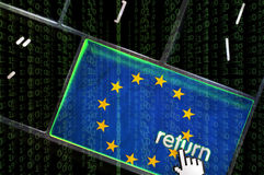 Distributed Denial of service concept. Europe Distributed Denial of service concept with the focus on the return button overlaid with binary code Royalty Free Stock Photo