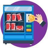 Distributeur automatique avec le dollar d'or de baisse de main Photos stock