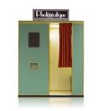 Distributeur automatique de cabine de photo de style de vintage sur un fond blanc Photo stock