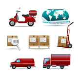 Distributie en het verschepen pictogrammen Stock Foto's