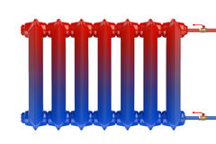 Distributie van hittestroom in de gietijzer het verwarmen radiator Stock Fotografie