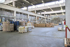 Distribution. Inside of huge,light warehouse Royalty Free Stock Image