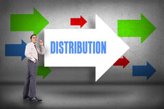 Distribution against arrows pointing Stock Photography