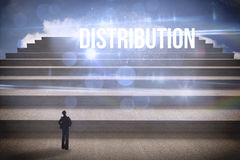 Distribution against steps against blue sky Royalty Free Stock Image