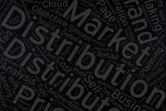 Distribution, art de nuage de Word sur le tableau noir Images stock