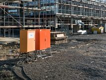 Distribution boards. Orange distribution boards at construction site Stock Images