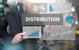 DISTRIBUTION. And businessman working with modern technology stock photography
