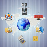 Distribution and cargo shipping illustration Stock Photography