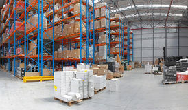 Distribution center. Distribution centre with high rack shelving system royalty free stock image